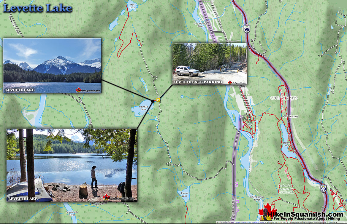 Levette Lake Hike in Squamish Map
