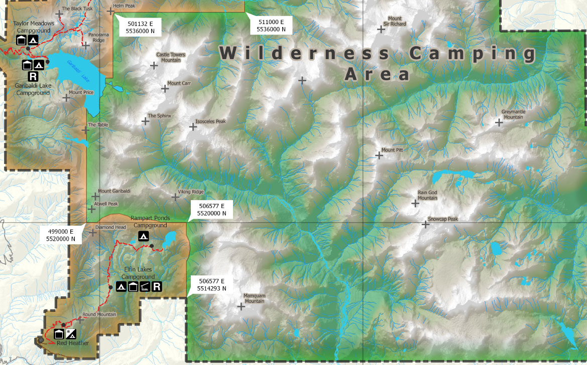 Wilderness Camping Map BC Parks