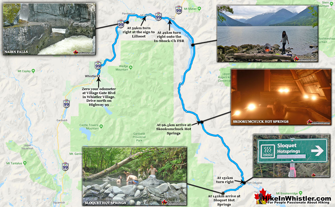Skookumchuck and Sloquet Hot Springs Directions