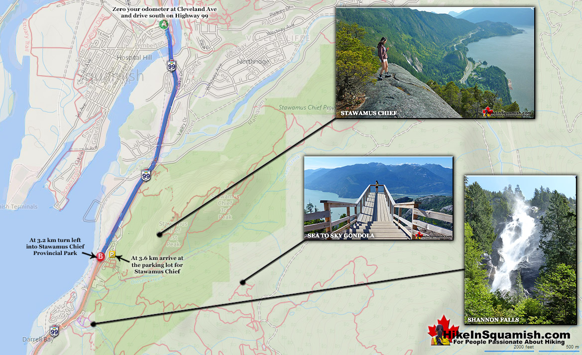 Driving Map to Stawamus Chief
